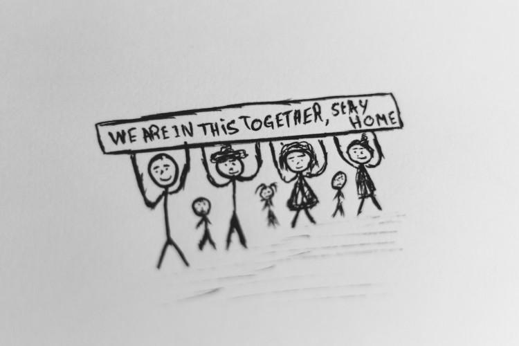 Dessin d'une famille en confinement au crayon