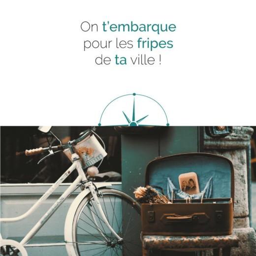image d'un vélo pour promouvoir les friperies de la ville