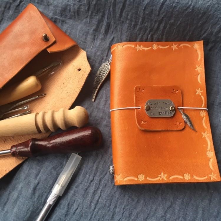 carnet couverture en cuir fait main atelier diy